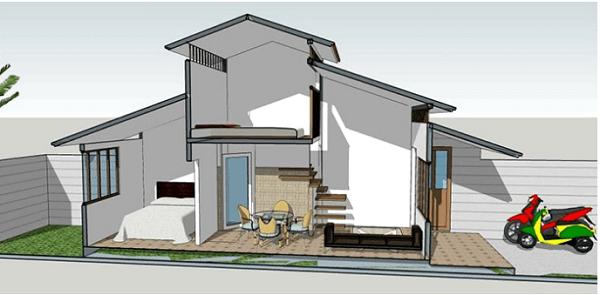 Bản thiết kế nhà cấp 4 cho 2 phòng ngủ