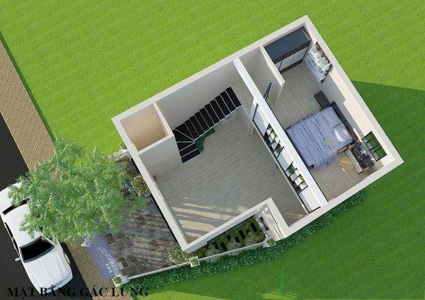 Bản thiết kế nhà cấp 4 gác lửng trên cao nhìn xuống