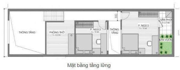 Tầng lững ngôi nhà với các phòng rộng rãi, thông thoáng