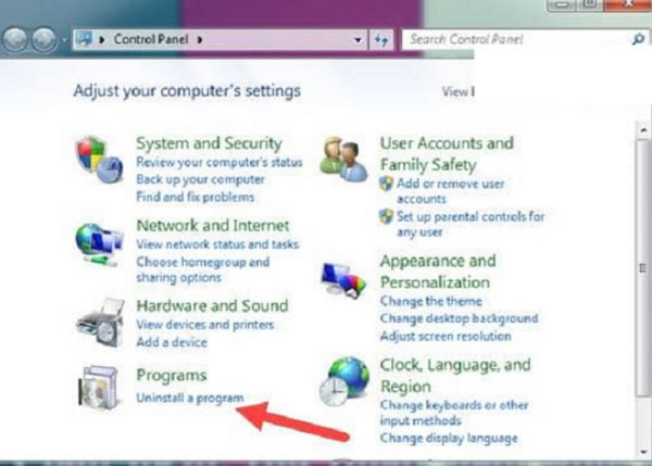 Click chọn vào uninstall a program