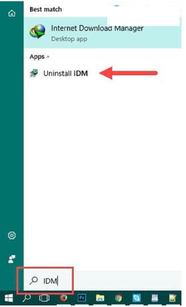 Tìm kiếm uninstall IDM trên thanh công cụ